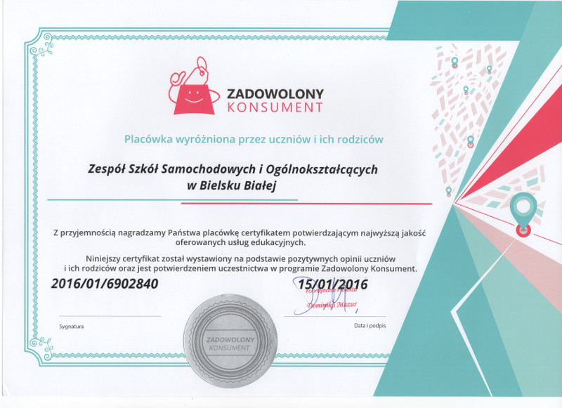 Certyfikat Zadowolony Konsument